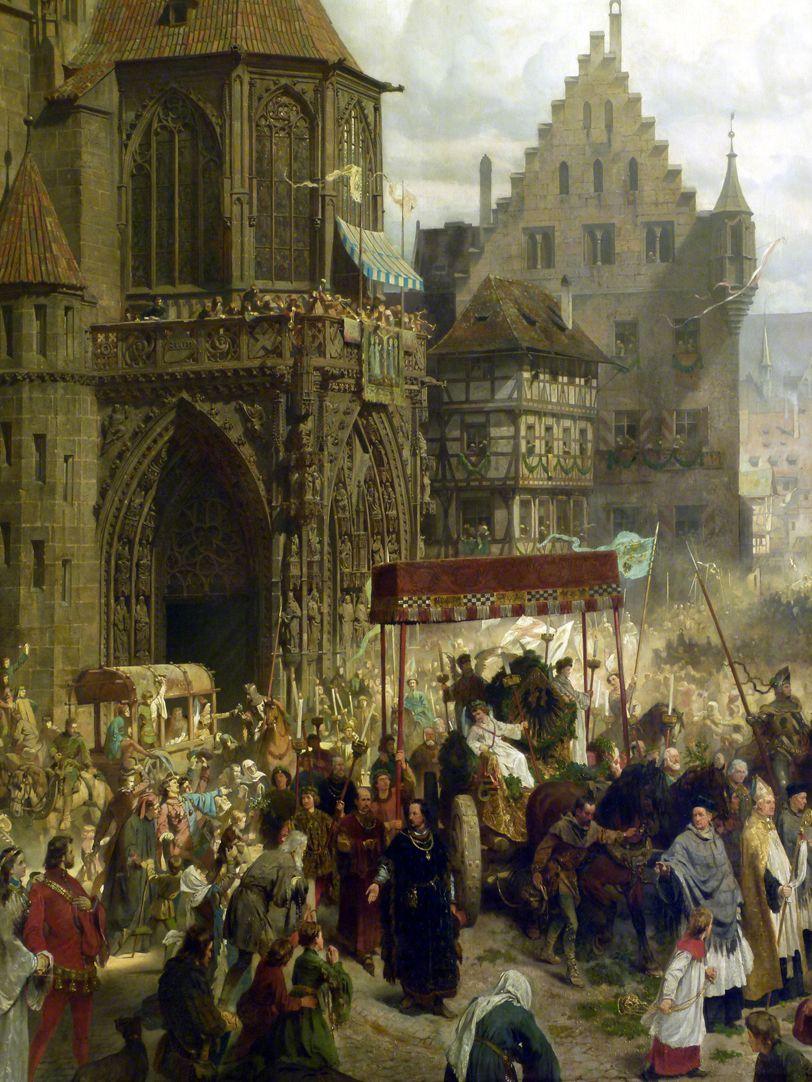 Die Einbringung der Reichskleinodien in Nürnberg am 22. März 1424 Prozession mit Baldachin