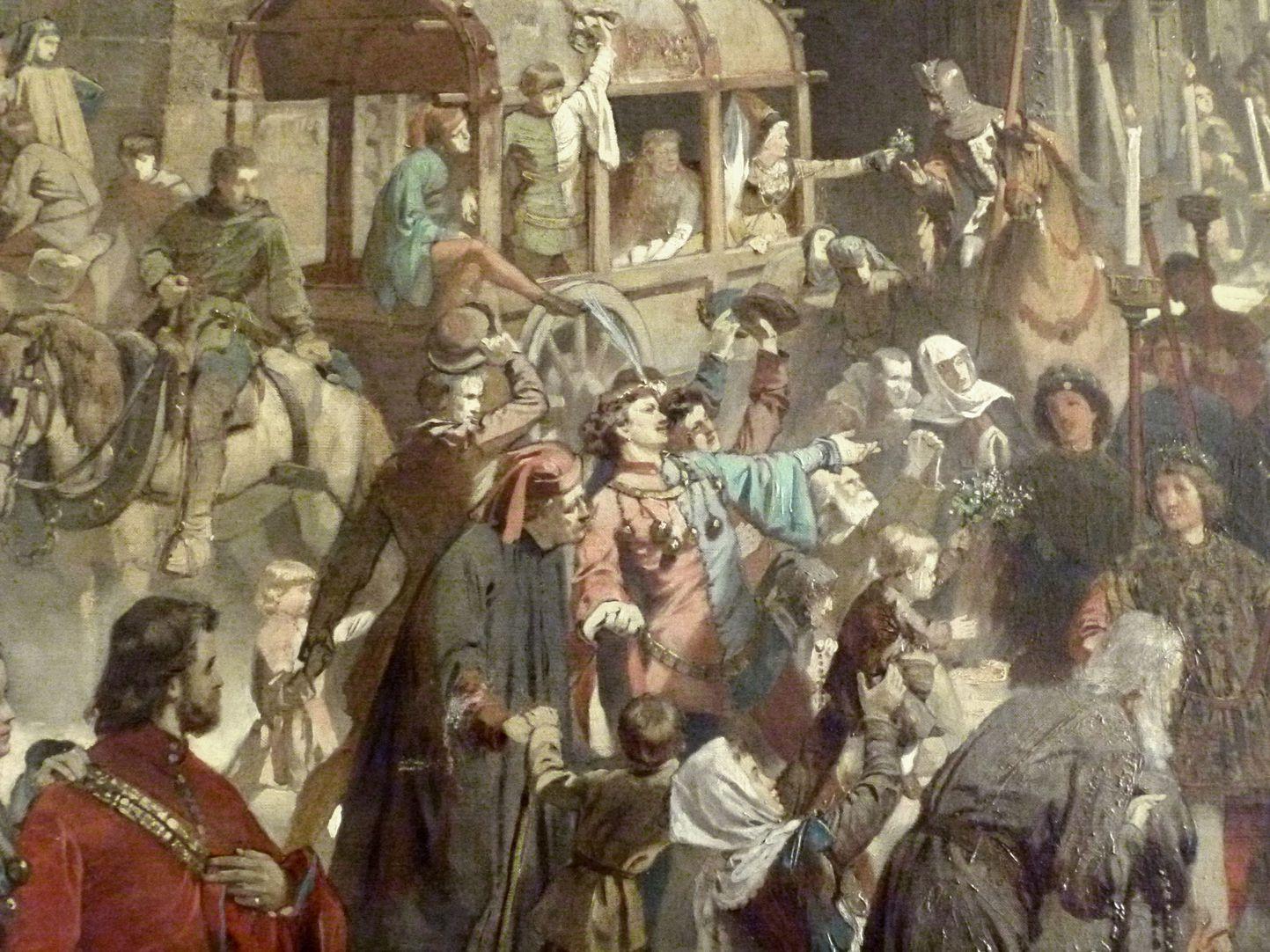 Die Einbringung der Reichskleinodien in Nürnberg am 22. März 1424 Detailansicht vor der Frauenkirche