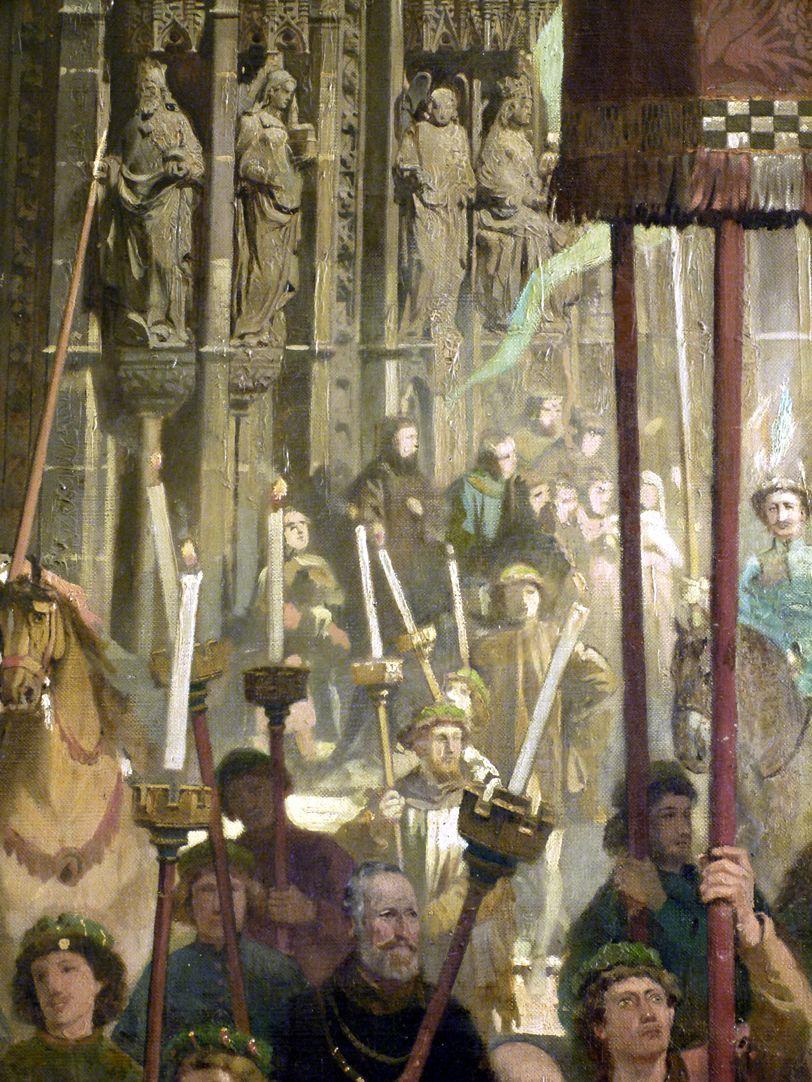 Die Einbringung der Reichskleinodien in Nürnberg am 22. März 1424 Frauenkirche, Portal, Detail