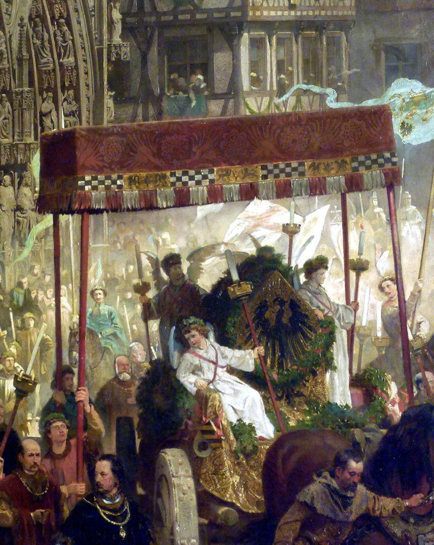 Die Einbringung der Reichskleinodien in Nürnberg am 22. März 1424 Baldachin