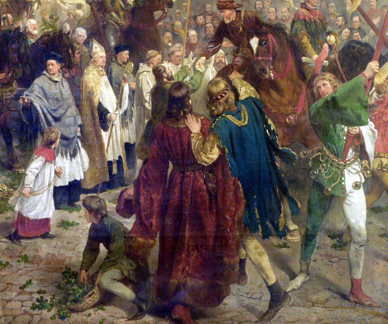 Die Einbringung der Reichskleinodien in Nürnberg am 22. März 1424 Prozession, Detail