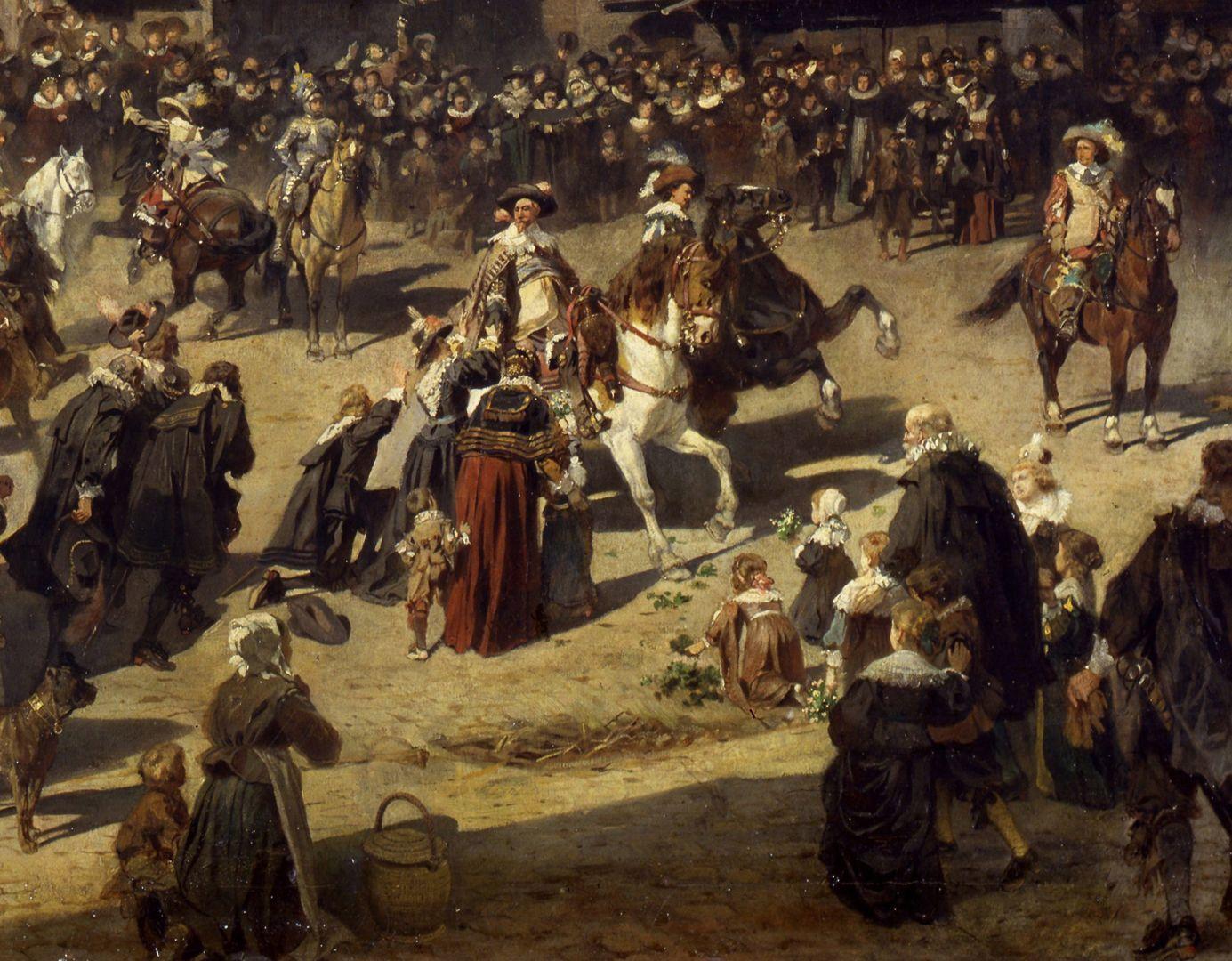 Die Alte Schau in Nürnberg Gustav Adolf in der Menschenmenge