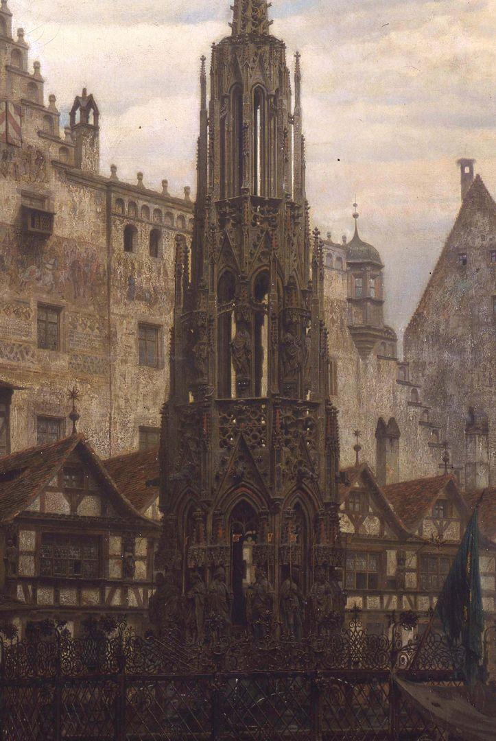Der Schöne Brunnen zu Nürnberg im Jahre 1632 Detail mit Schönen Brunnen