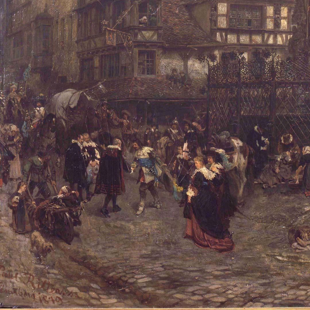 Der Schöne Brunnen zu Nürnberg im Jahre 1632 linke untere Bildecke mit Künstlersignatur