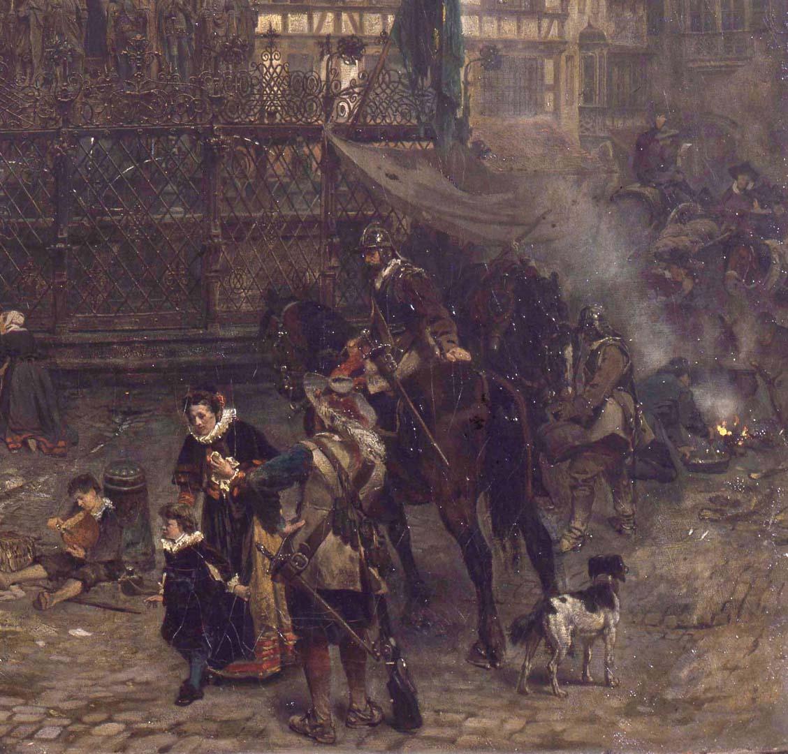 Der Schöne Brunnen zu Nürnberg im Jahre 1632 rechte untere Bildecke