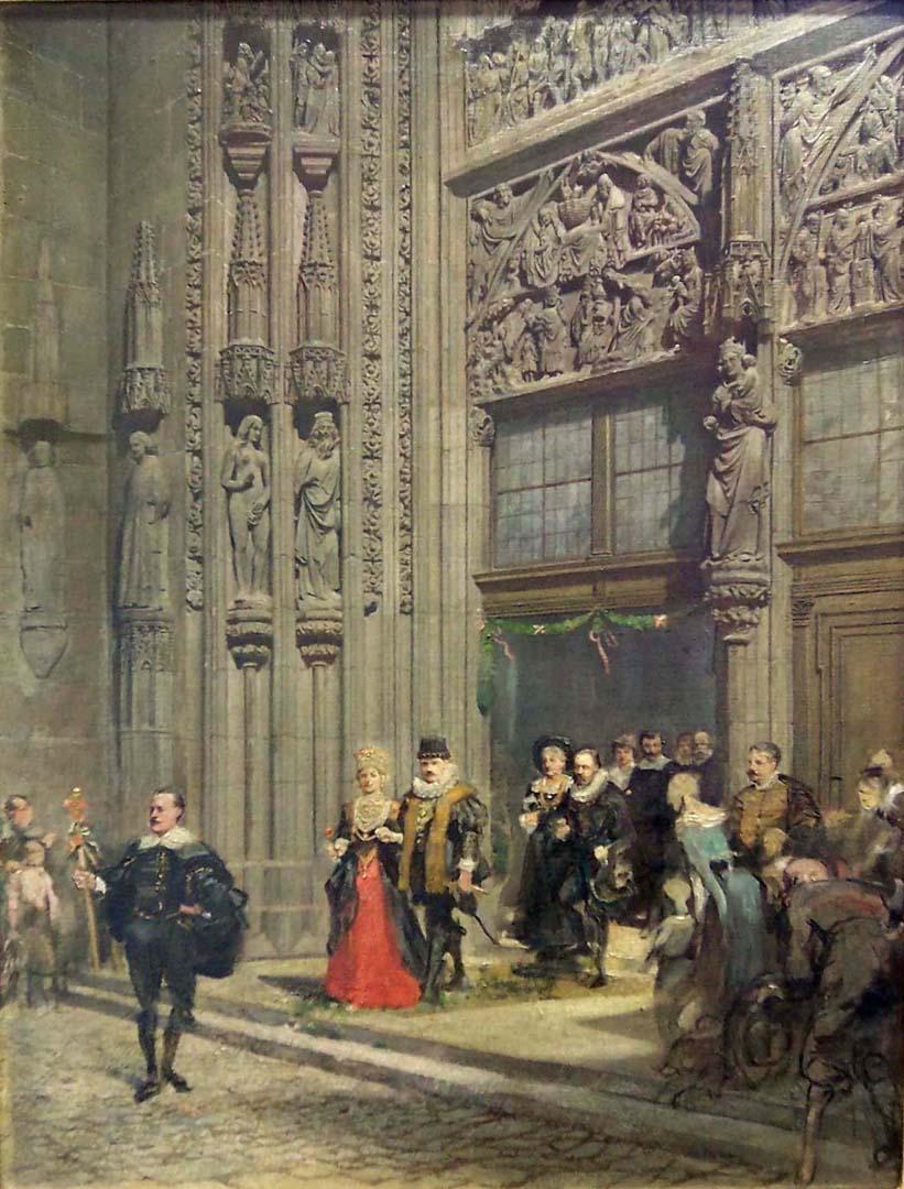 Das Hauptportal der Lorenzkirche mit Brautzug in der Tracht des 30-jährigen Krieges