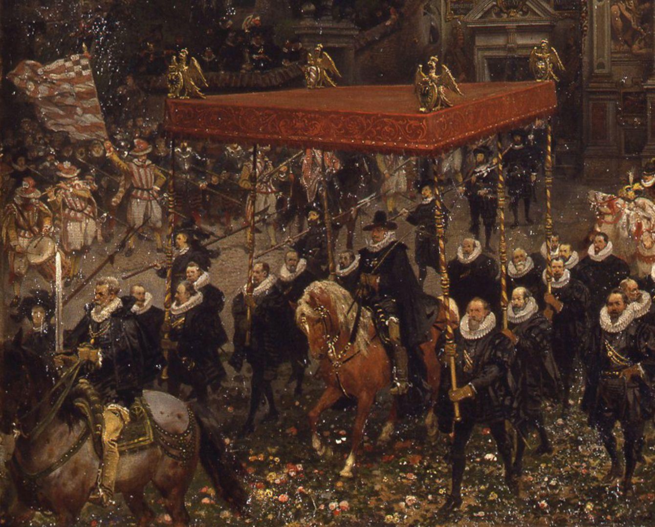 Einzug des Kaisers Matthias in Nürnberg 1612 Der Kaiser zu Pferde unter einem von Patriziern getragenen Himmel