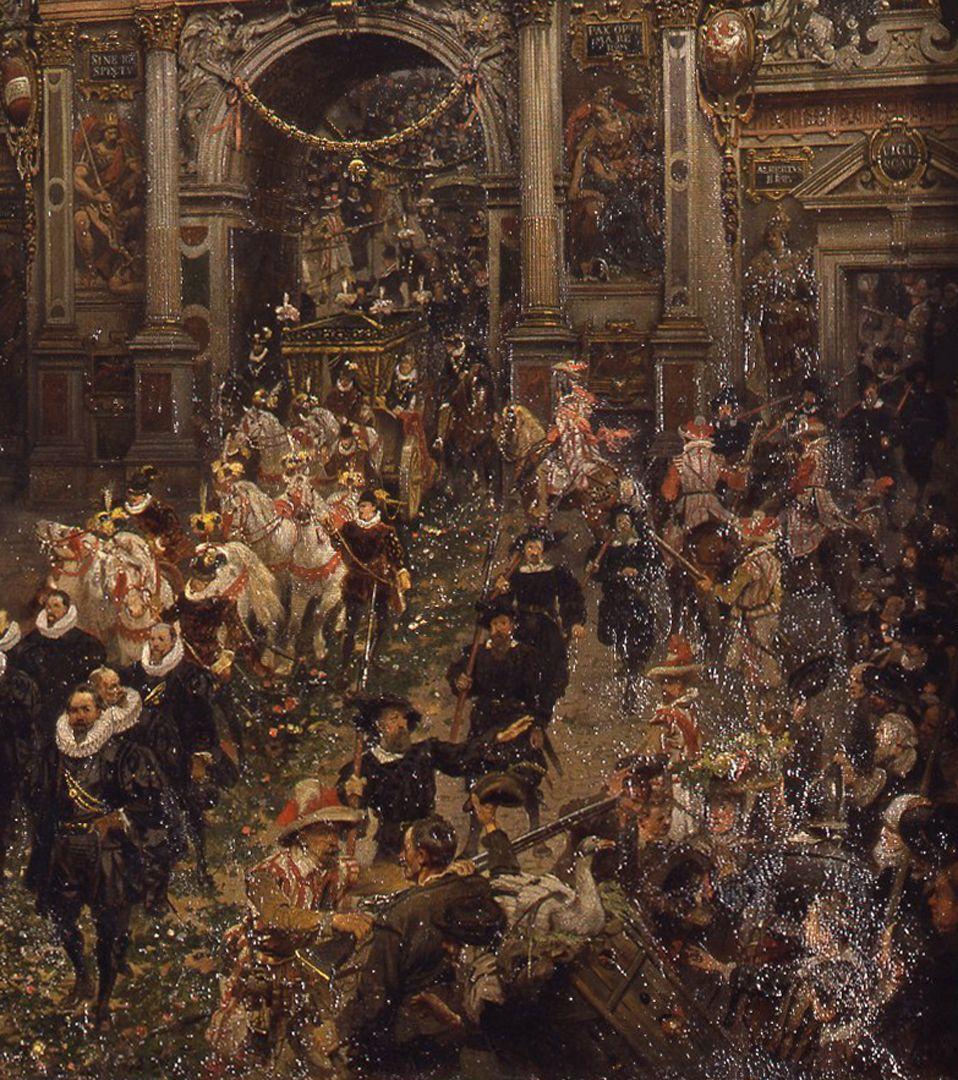 Einzug des Kaisers Matthias in Nürnberg 1612 Festzug und Menschenmenge