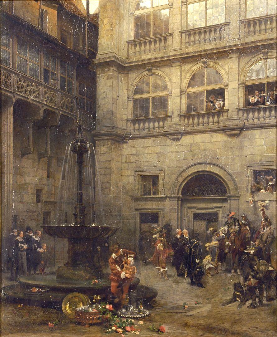 Ostseite des großen Rathaushofes zu Nürnberg zur Zeit des Friedensmahls 1649