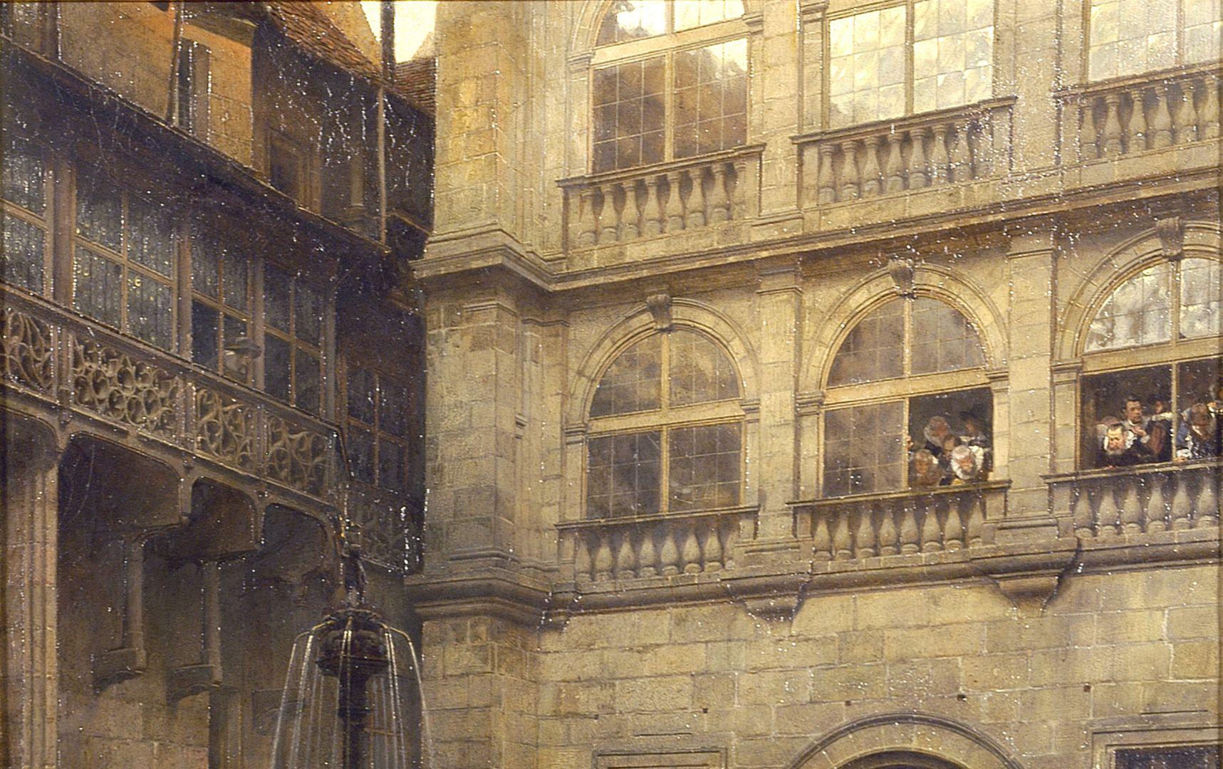 Ostseite des großen Rathaushofes zu Nürnberg zur Zeit des Friedensmahls 1649 obere Bildhälfte