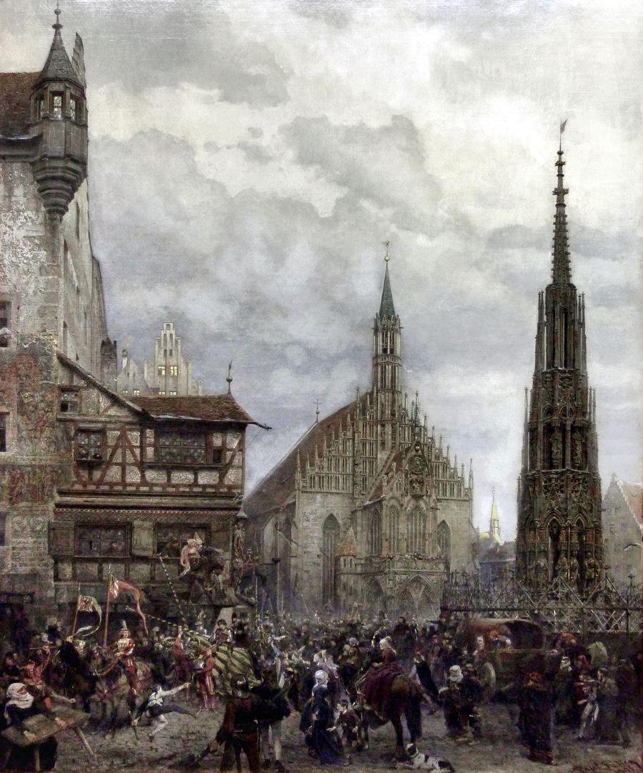 Der Marktplatz zu Nürnberg zur Zeit des Tuniers von 1496 Gesamtansicht