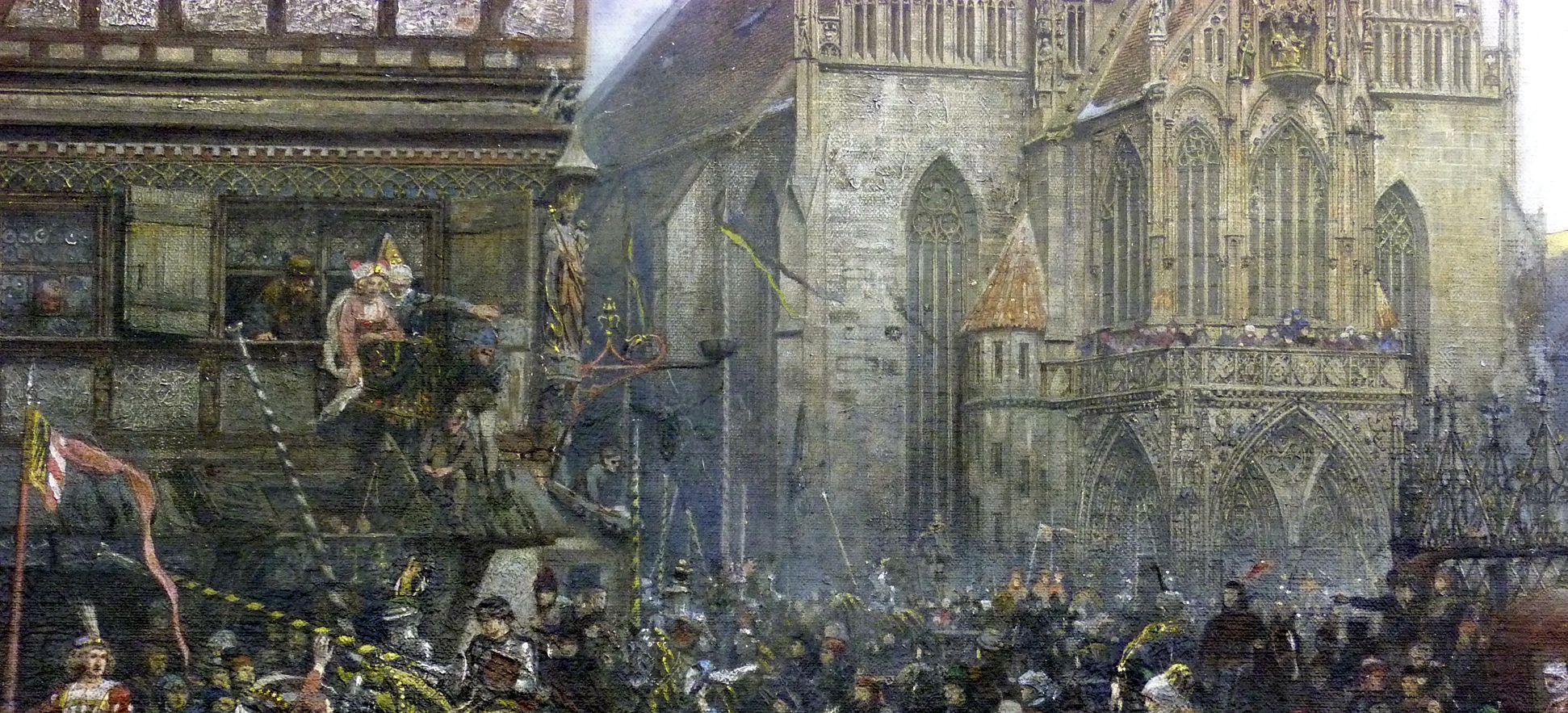 Der Marktplatz zu Nürnberg zur Zeit des Tuniers von 1496 Zug der Tunierreiter, Schaulustige