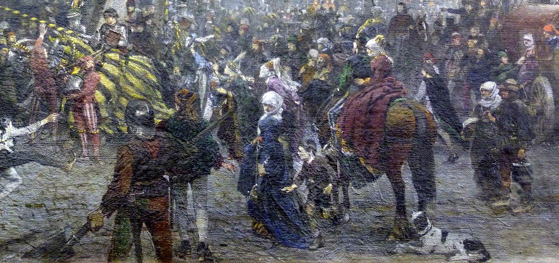 Der Marktplatz zu Nürnberg zur Zeit des Tuniers von 1496 Tunierreiter, Schaulustige