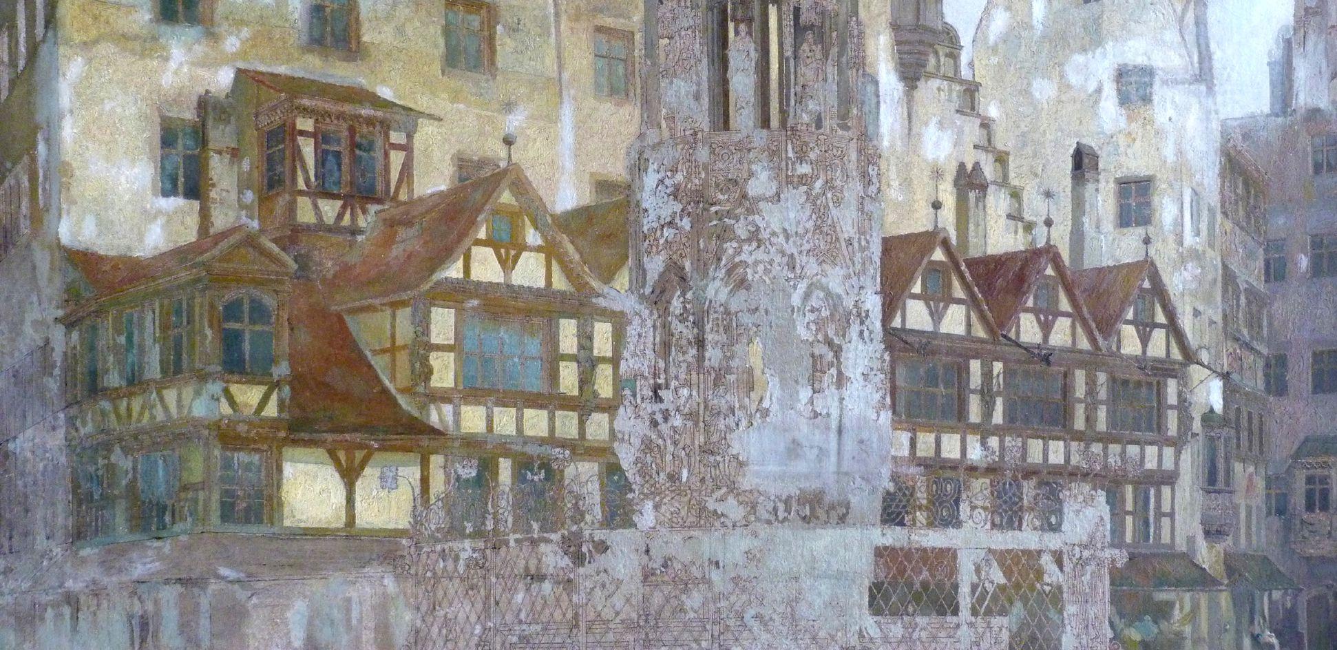 Schöner Brunnen und Meyer´sches Haus unteres Bilddrittel, Detailansicht