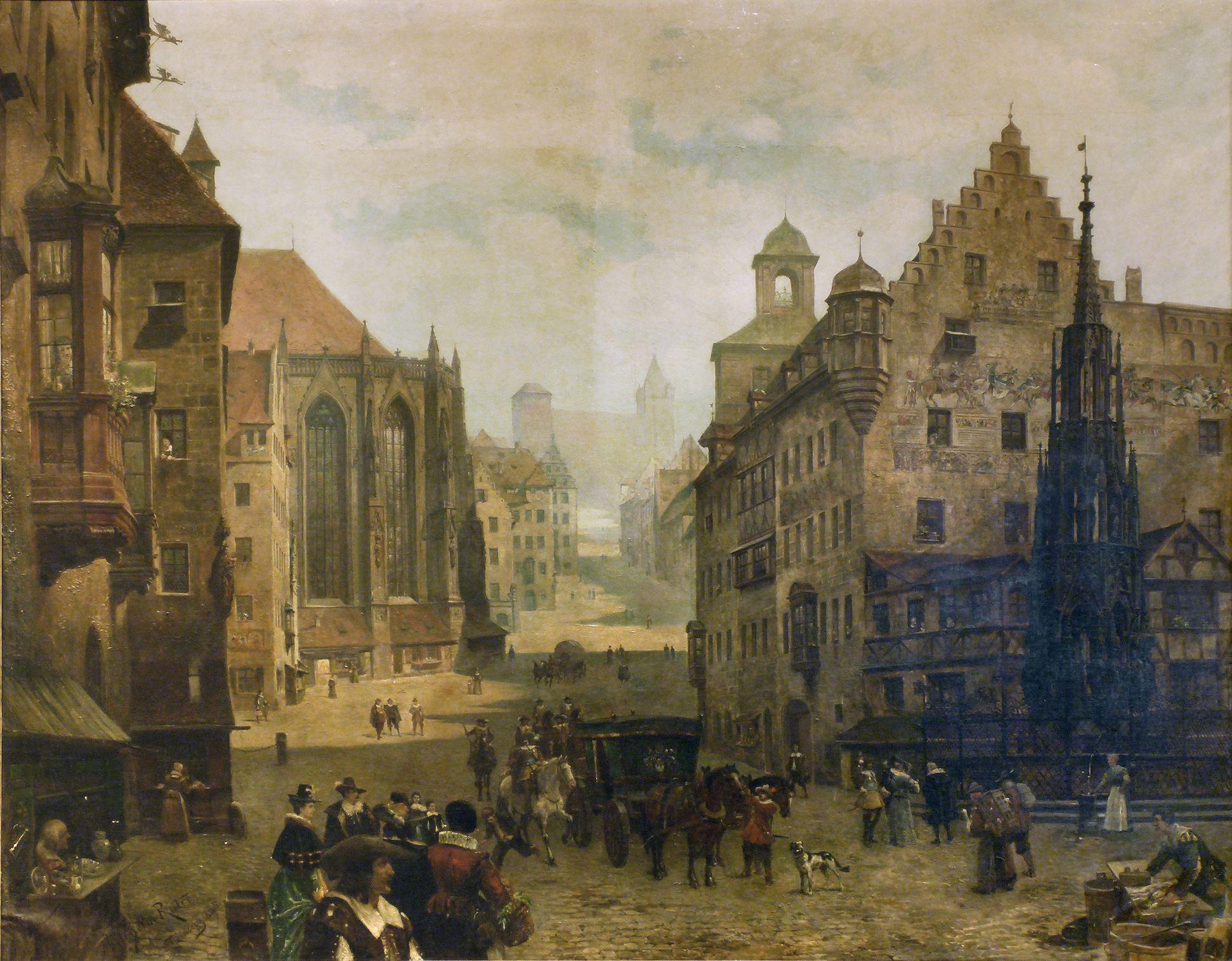 Hauptmarkt mit Blick in die Burgstraße Gesamtansicht