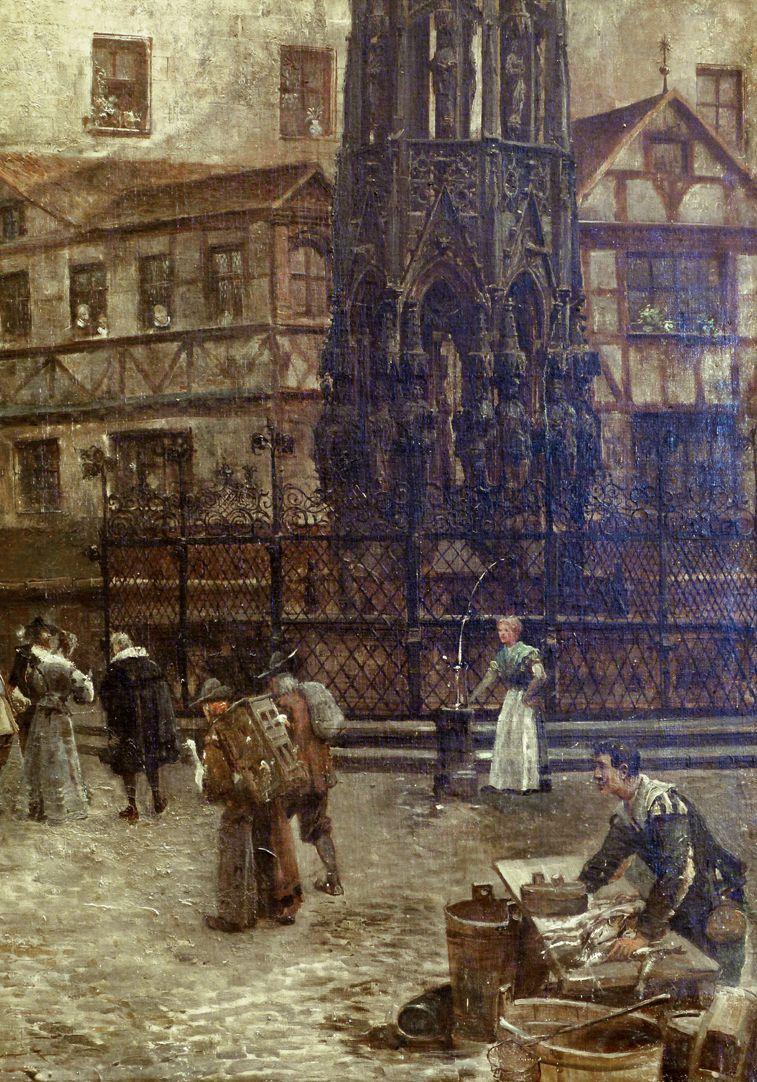 Hauptmarkt mit Blick in die Burgstraße Markttreiben