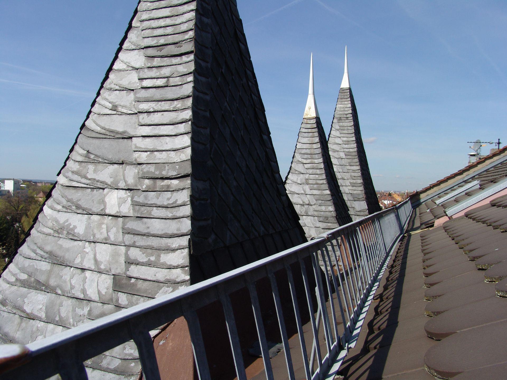 Dachwerk Gaubenpyramiden vom Dach aus gesehen
