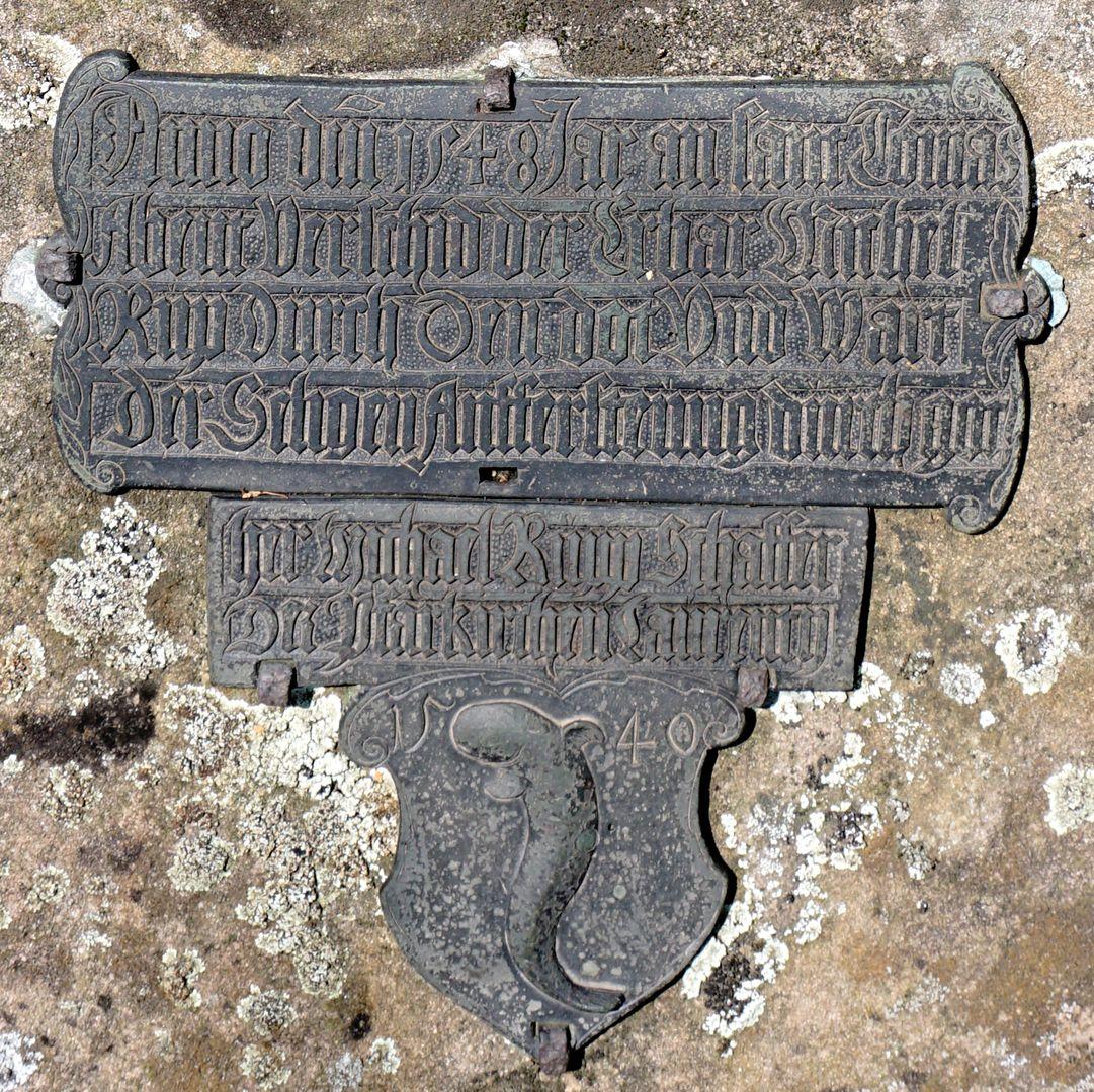 Rochusfriedhof Grabstätte 209 Historisches Epitaph des Michael Rupp, Schaffer bei St. Lorenz, 1540, gest. 21.12.1548