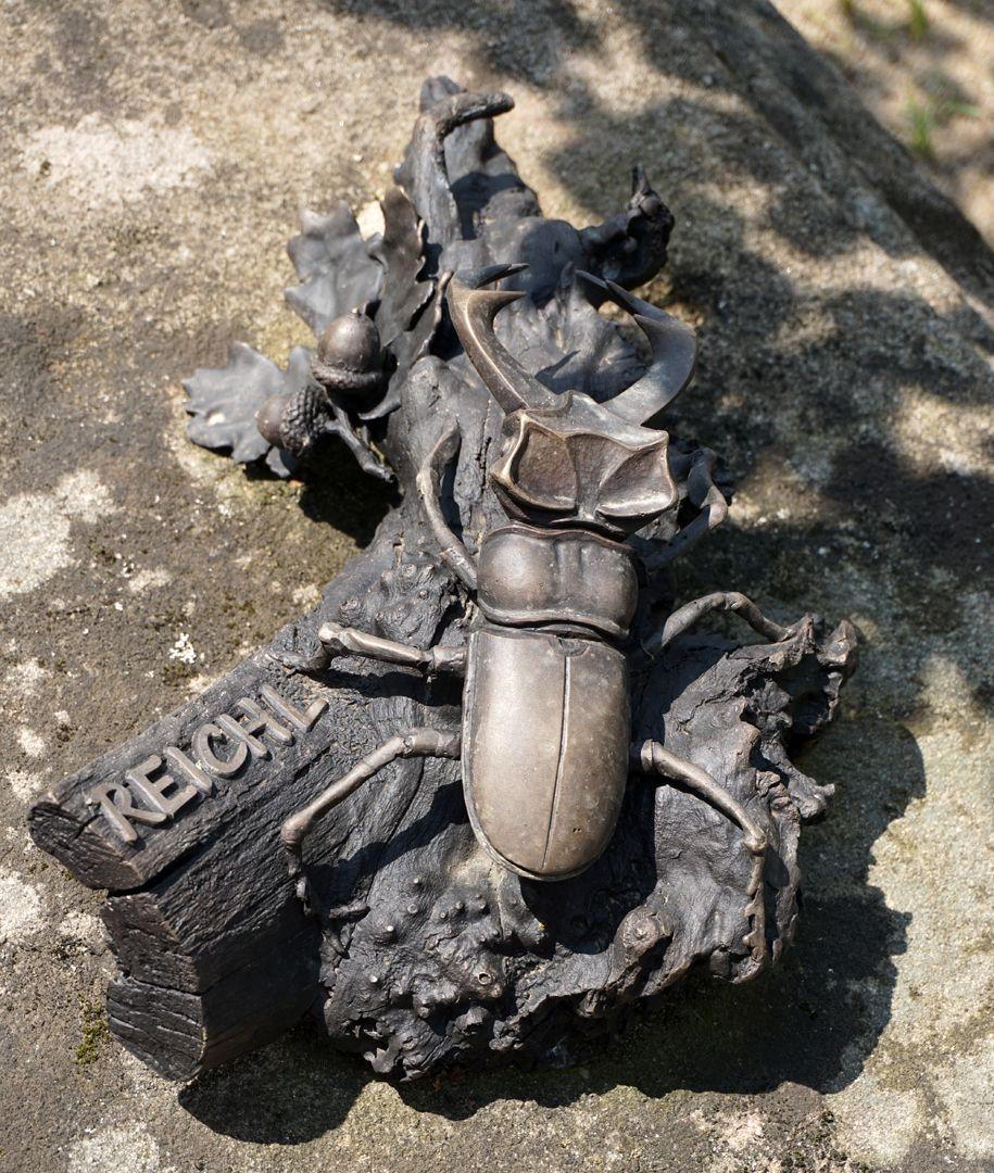Rochusfriedhof Grabstätte 209 Modernes Epitaph / REICHL / Hirschkäfer auf einem Stück einer Eichenbaumwurzel