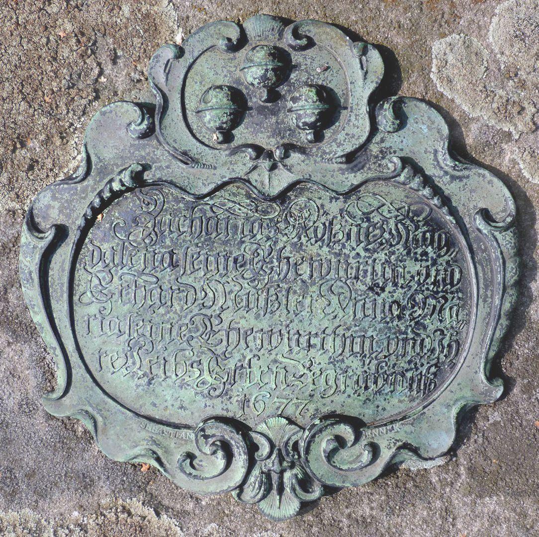 Rochusfriedhof<p>Zacharias Rössner, Mag-/ dalena seine Ehewürtin vnd/ Erhard Mußler, Anna Ma-/ ria seine Ehewürthin vnd Jh-/ re Leibs Erben Begräbnuß/ 1677<br></p><p><br></p><p>siehe auch: <a href=