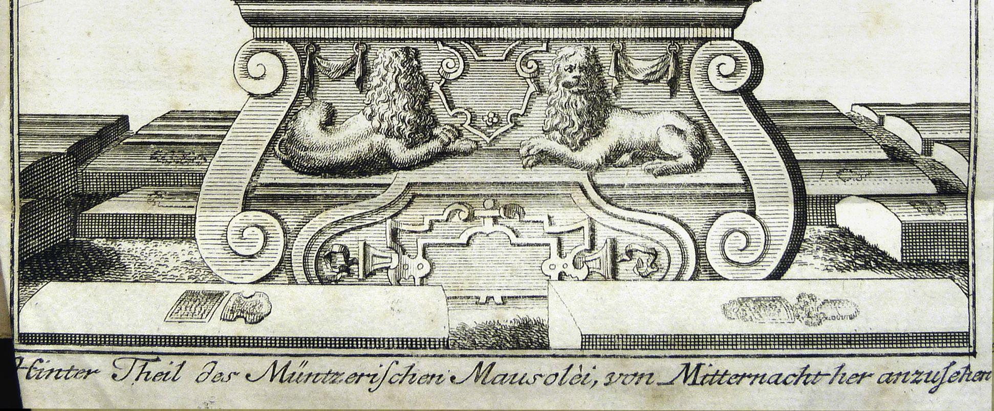 """""""Hinter Theil des Müntzerischen Mausolei, von Mitternacht anzusehen"""" Basis"""
