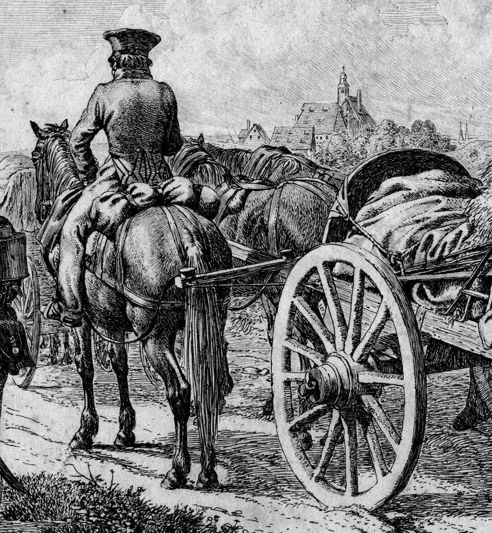 Russische Soldaten Detail mit Reiter und Fuhrwerk
