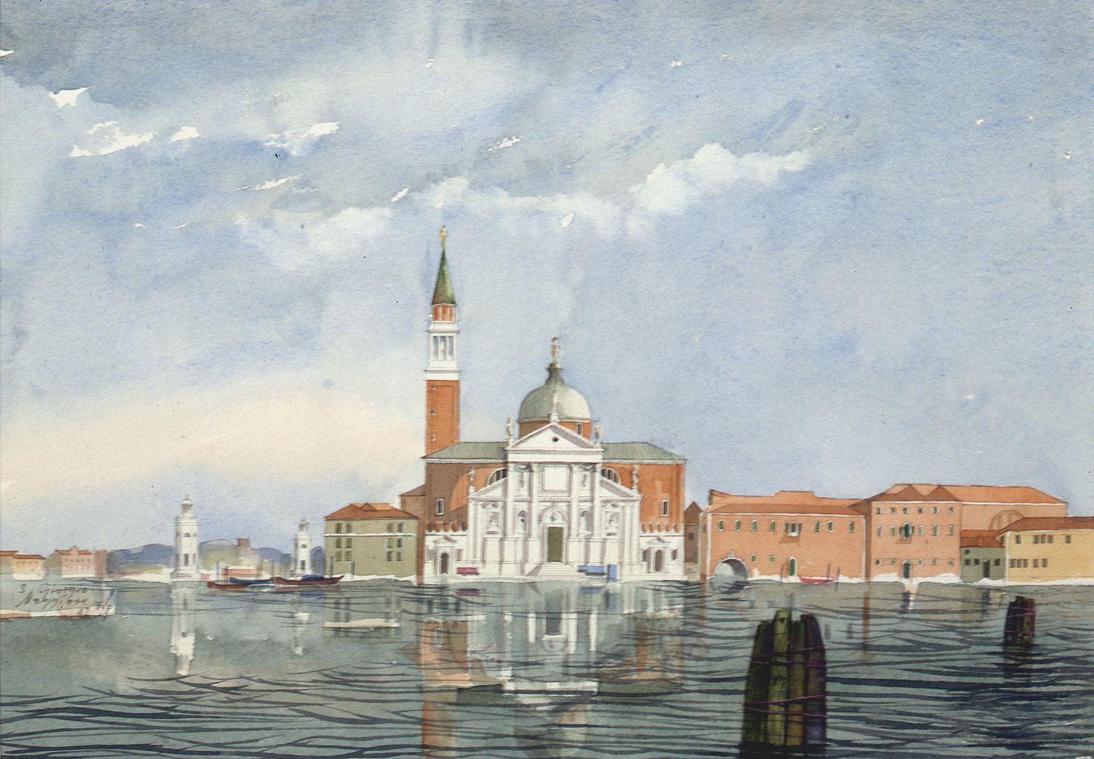 San Giorgio Maggiore (Venedig) Ufersituation mit Kirchenbau von Andrea Palladio, links Hafeneinfahrt der Insel