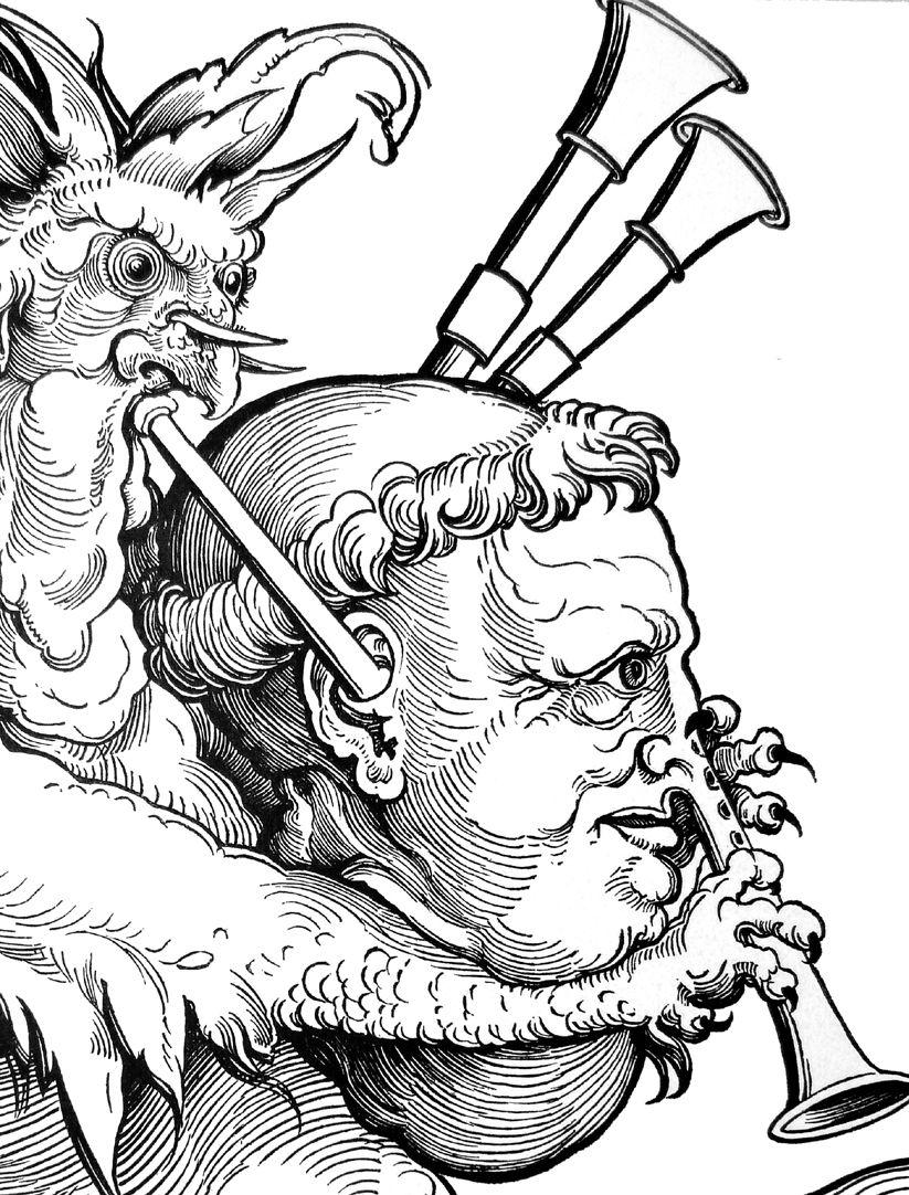 Der Teufel mit der Sackpfeife Detail