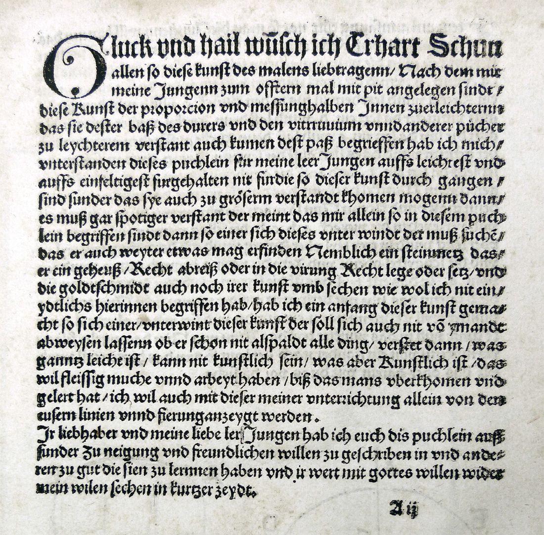 """""""Unnderweissung der porportzion ..."""" Vorrede, Seite 1"""