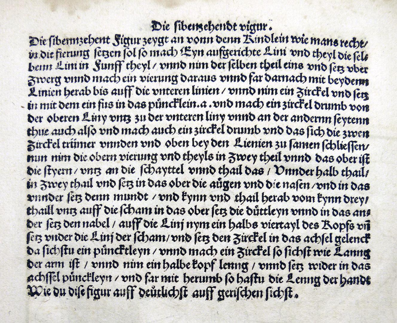 """""""Unnderweissung der porportzion ..."""" Die siebzehnte Figur, Text"""