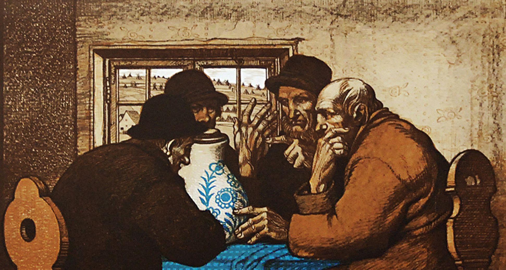 Die Trinker obere Bildhälfte