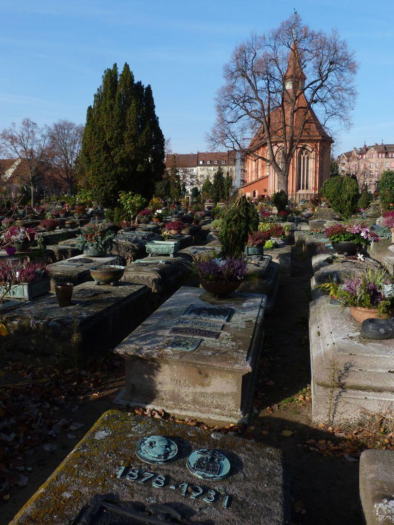Epitaph Rudolf Schiestl Grab 836, Johanniskirche im Hintergrund
