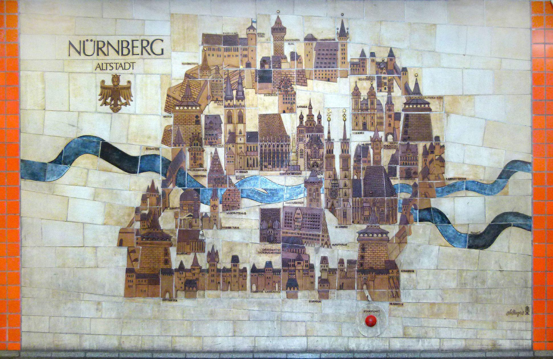 Keramikrelief der Nürnberger Altstadt Gesamtansicht