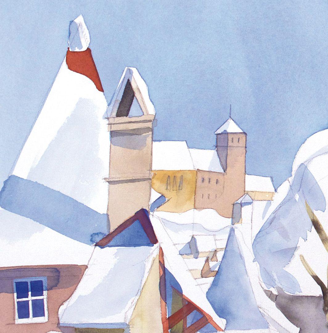 Spittler-Tor-Mauer winterliche Dachlandschaft