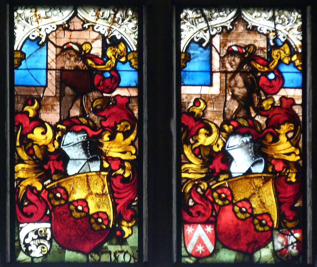 Schmidmayer-Fenster Allianzwappen des Schmidmayer´schen Geschlechts, Feld fünf (Datierung 1509) und sechs