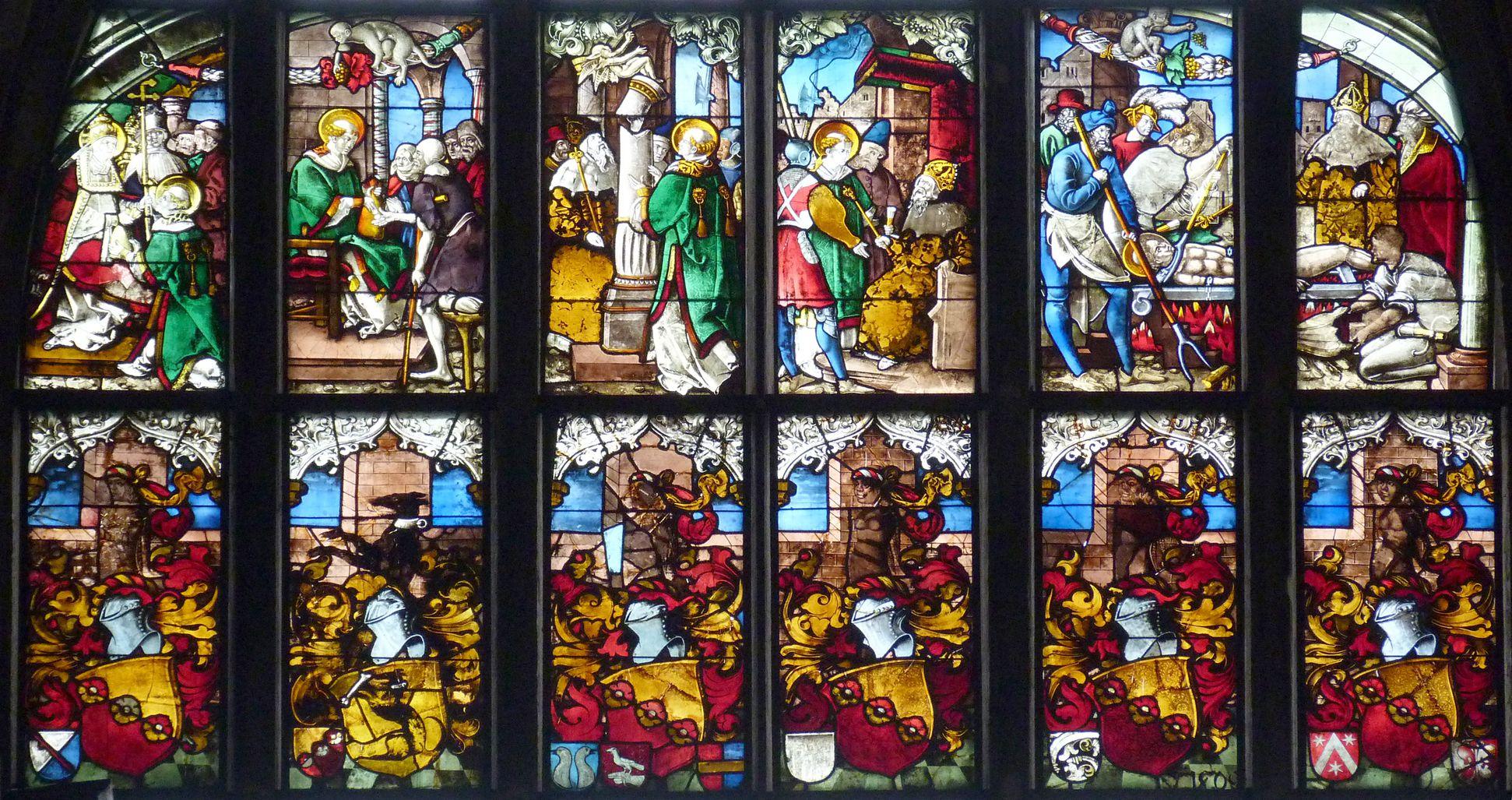 Schmidmayer-Fenster Die farbigen Register: oben Legende des hl. Lorenz, unten Wappenreihe