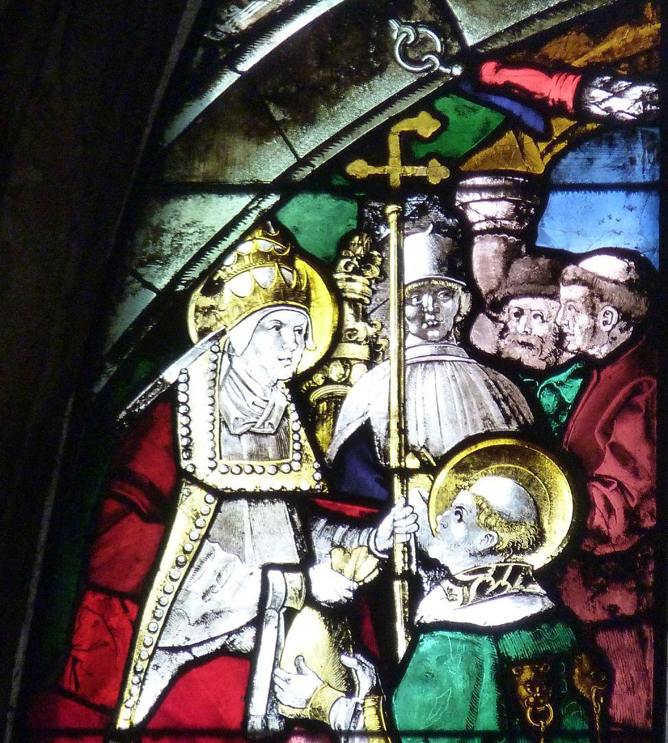 Schmidmayer-Fenster Detail Sixtus und Lorenz