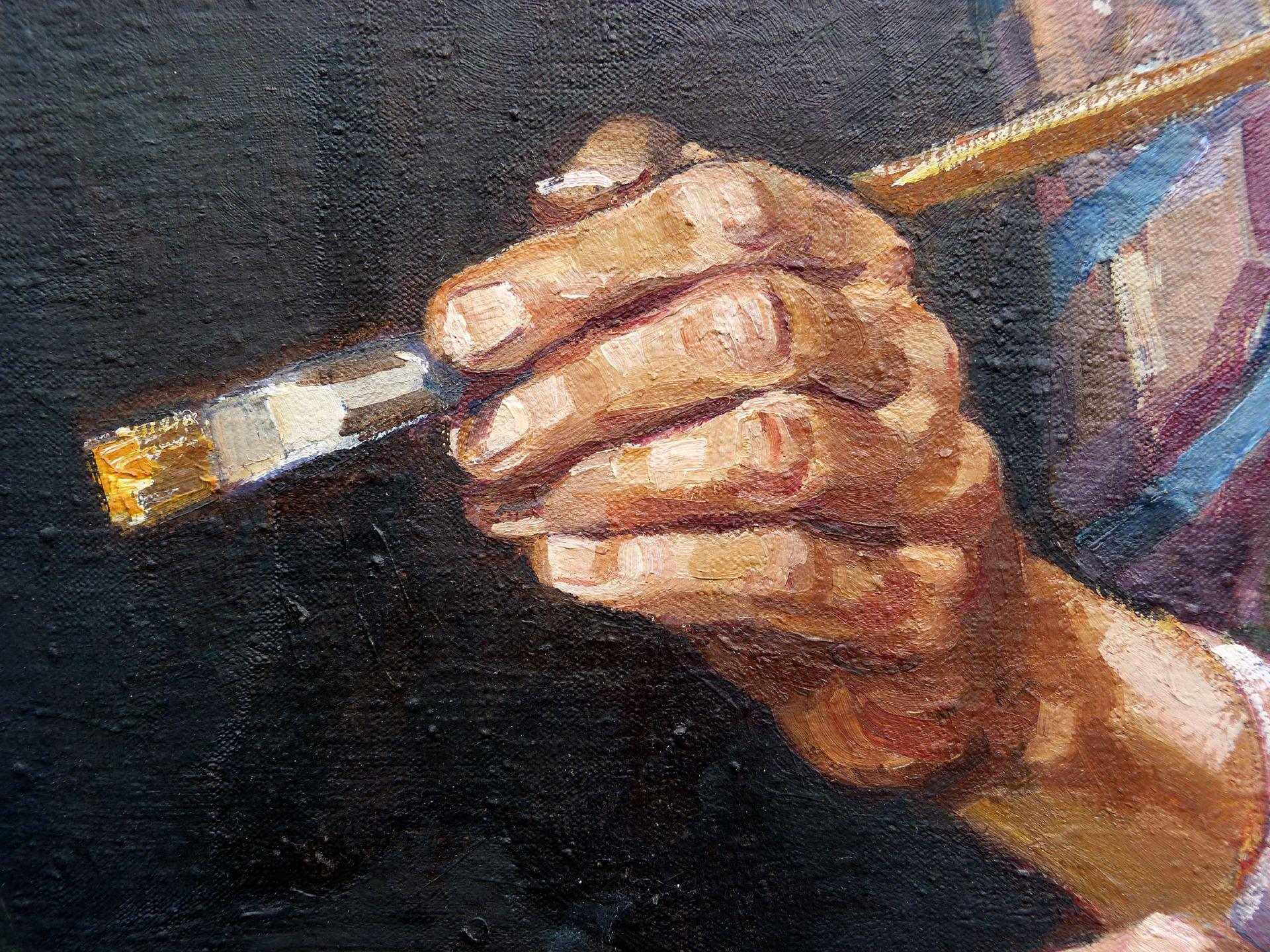 Selbstportrait, Hermann Thomas Schmidt Detail der Hand