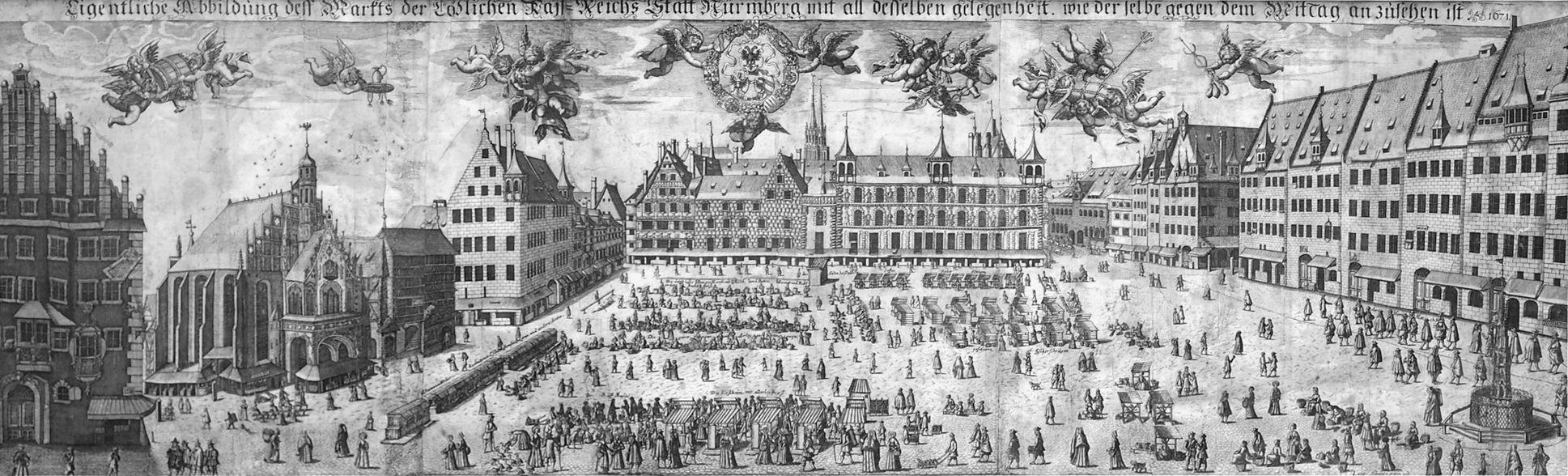Eigentliche Abbildung dess Markts der Löblichen Kais. Reichs Statt Nurmberg mit all desselben gelegenheit, wie derselbe gegen dem Mittag anzusehen ist.