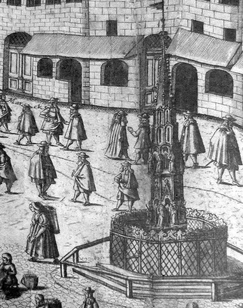 Eigentliche Abbildung dess Markts der Löblichen Kais. Reichs Statt Nurmberg mit all desselben gelegenheit, wie derselbe gegen dem Mittag anzusehen ist. Detail mit Schönem Brunnen