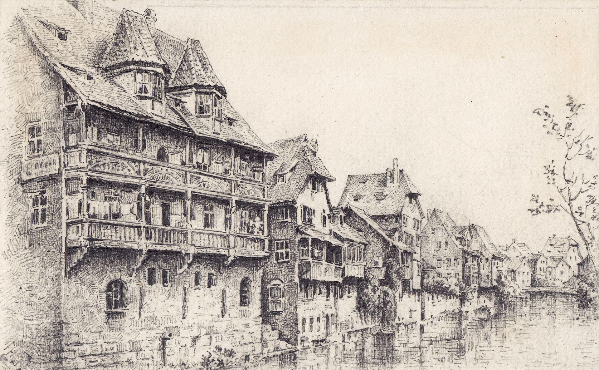 Goldenes Haus und Pegnitz an der Insel Schütt Goldenes Haus und Pegnitz an der Insel Schütt