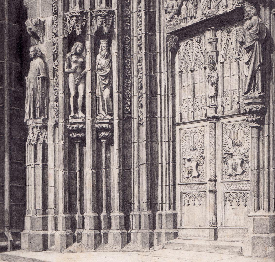 Nördliche Tür des Hauptportals der Lorenzkirche Detail
