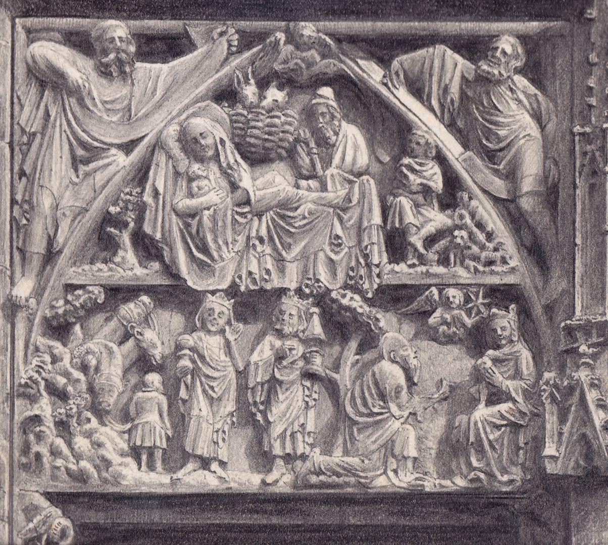 St. Lorenz, Tympanonregister des Hauptportals Detail der nördlichen Hälfte