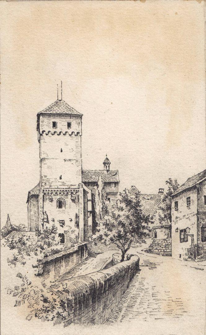 Vorhof der Burg mit Heidenturm Vorhof der Burg mit Heidenturm
