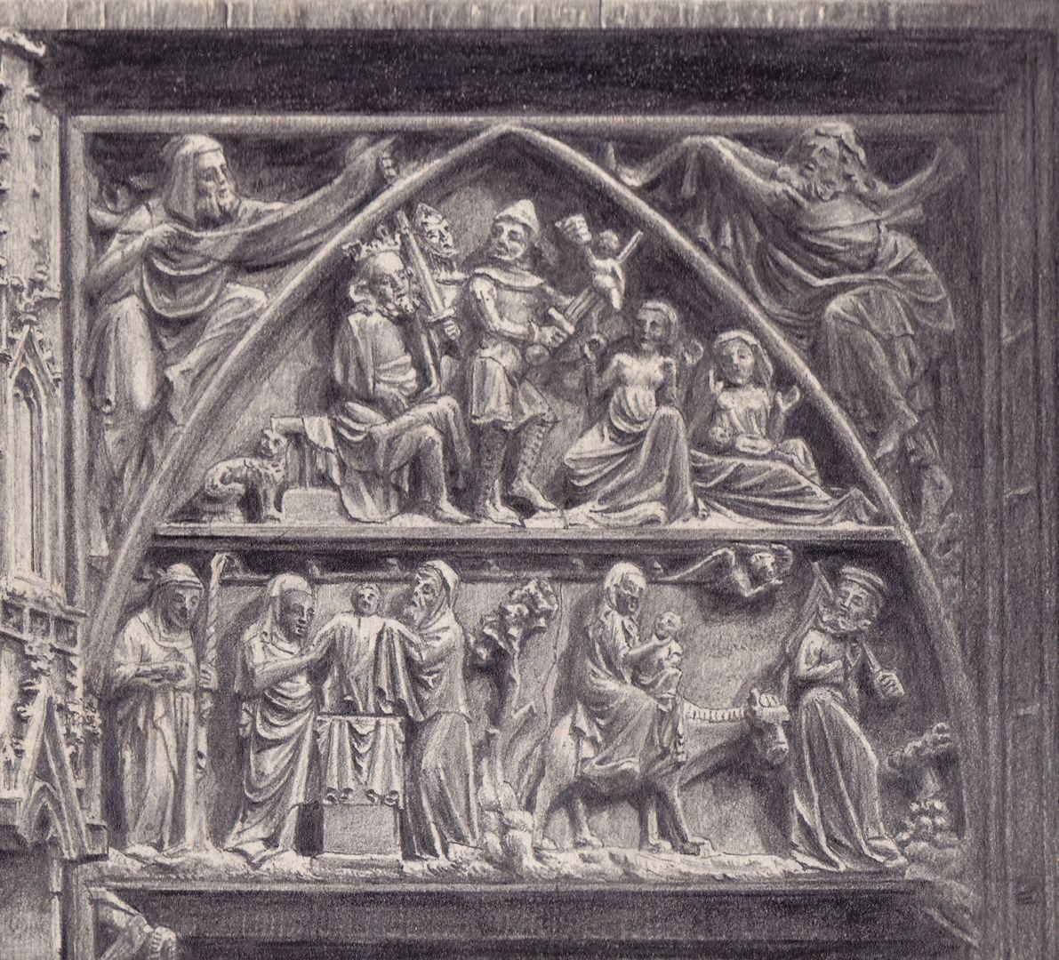 St. Lorenz, Tympanonregister des Hauptportals Detail der südlichen Hälfte