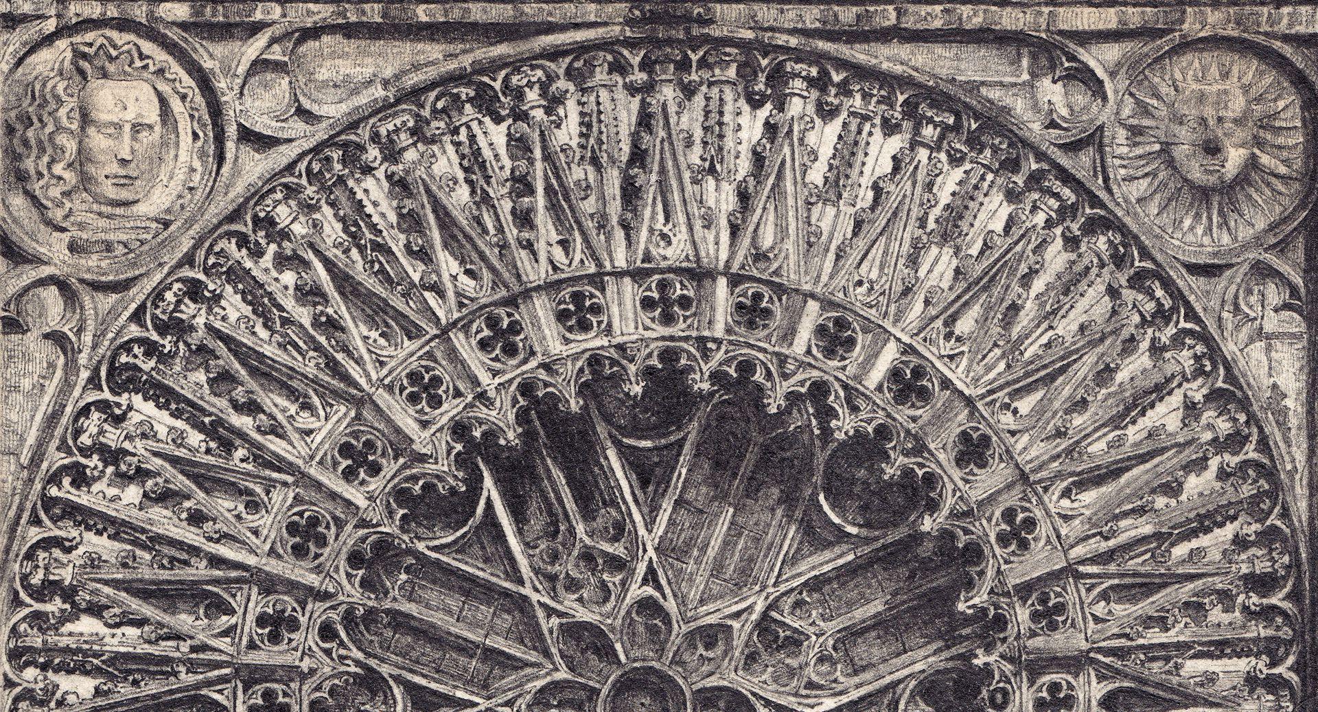 Rosette der Lorenzkirche Detailansicht der oberen Hälfte