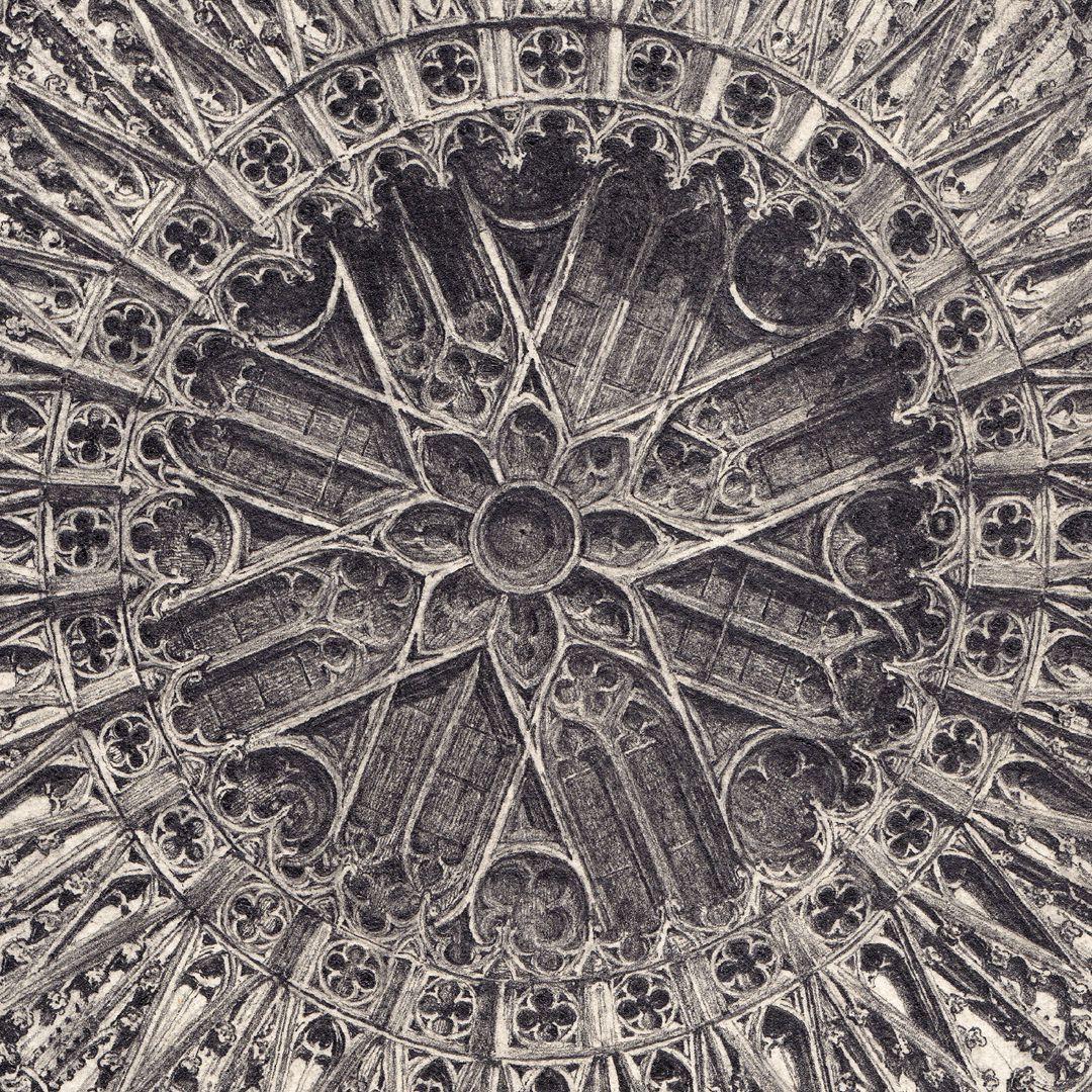 Rosette der Lorenzkirche Detailansicht der inneren Rose