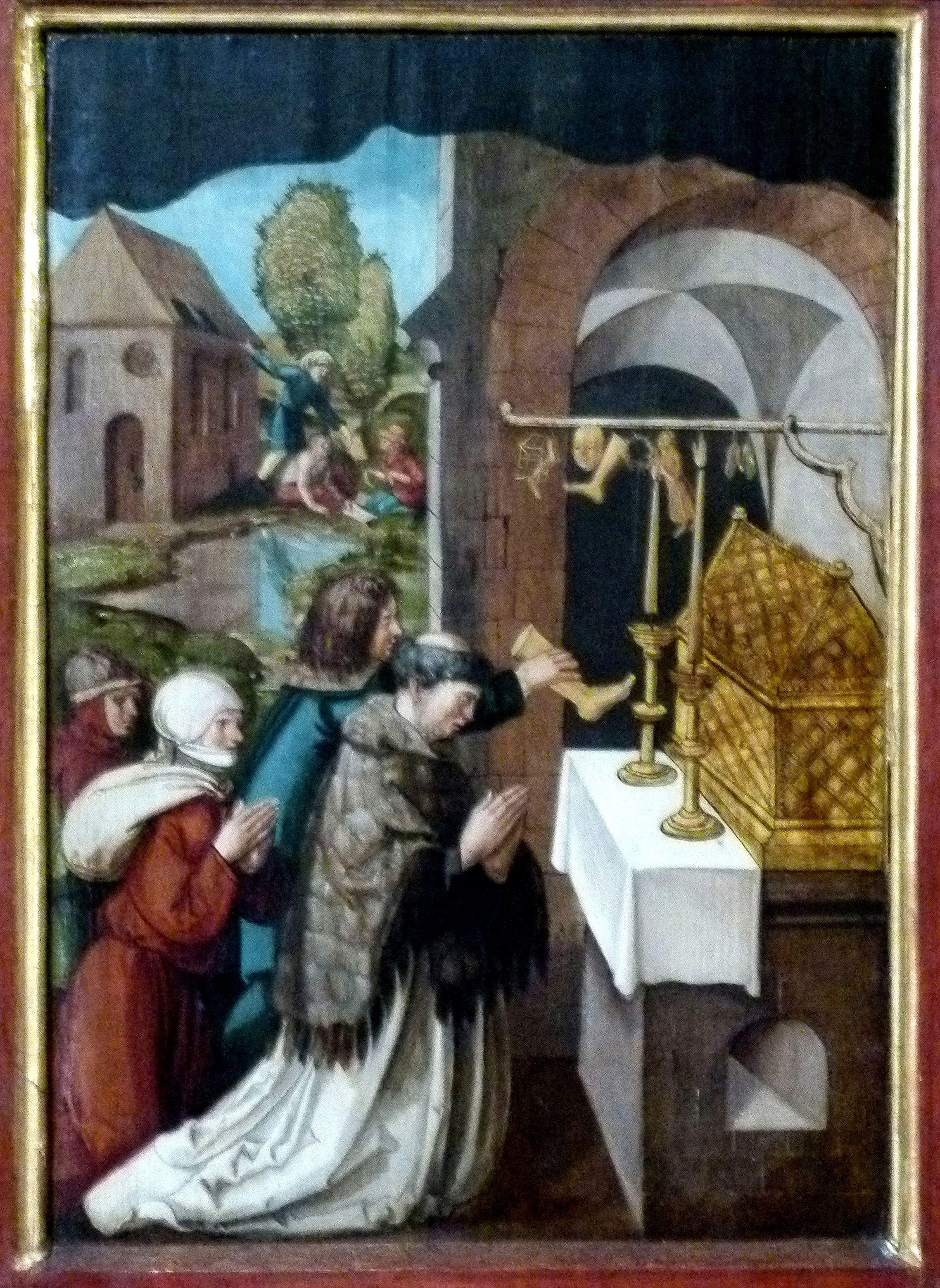 Sebaldus  Altar rechter Flügel, innen unten, Verehrung der Reliquien des hl. Sebald durch Wallfahrer