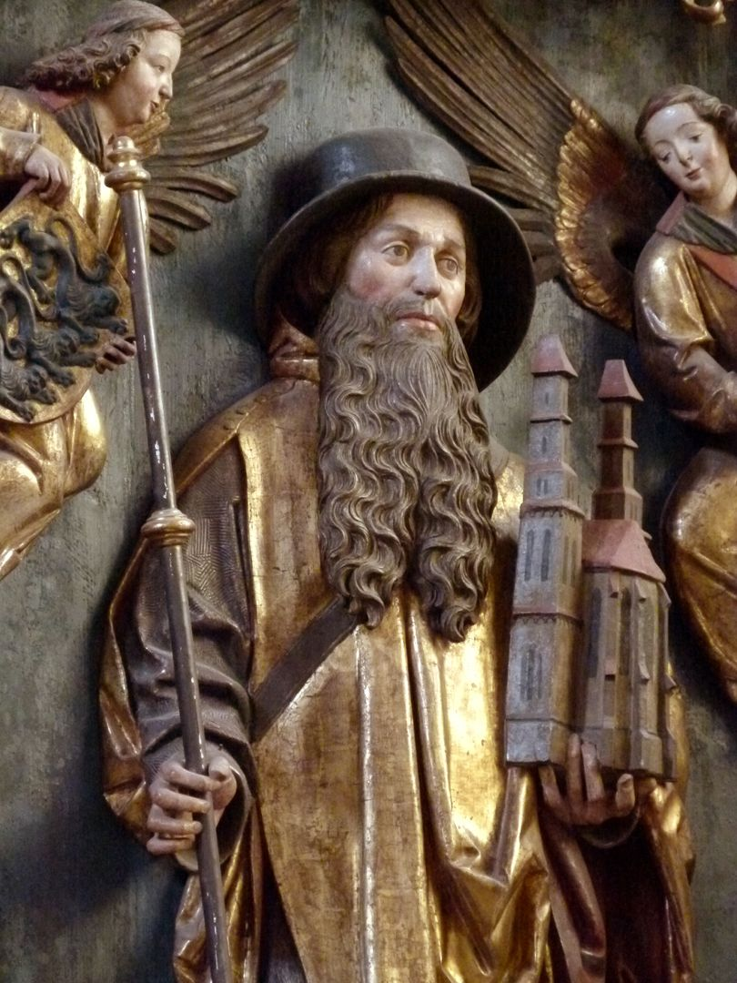 Sebaldus  Altar Schrein, hl. Sebald mit Stab und Kirchenmodel seiner Nürnberger Kirche