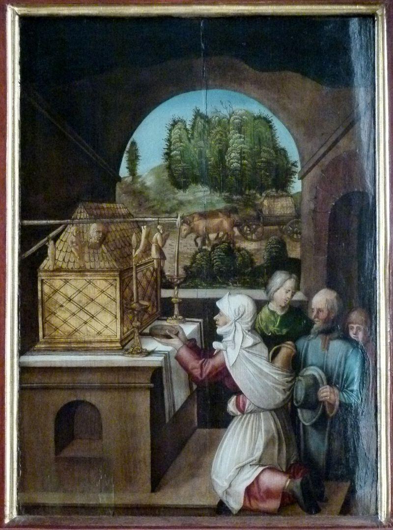Sebaldus  Altar linker Flügel, innen oben, Ankunft und Verehrung der Reliquien des hl. Sebald